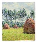 Haystacks At Giverny Fleece Blanket