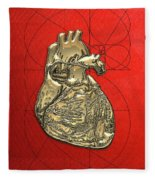 Heart Of Gold - Golden Human Heart On Red Canvas Fleece Blanket