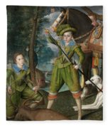 Henry Frederick Prince Of Wales With Sir John Harington In The Hunting Field Fleece Blanket