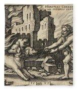 Hercules Capturing Cerberus Fleece Blanket