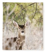 Herd Of Mule Deer In Deep Snow Fleece Blanket