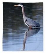 Heron Reflection Fleece Blanket