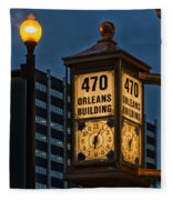 Historic Clock - Beaumont Texas Fleece Blanket