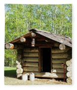 Historic Log Trappers Cabin Fleece Blanket
