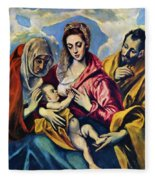Holy Family With St Anne Fleece Blanket