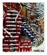 Escaliers De Montreal Ville De Verdun Best Original Montreal Paintings On Sale Peintures  Fleece Blanket