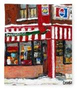 Original Montreal Paintings For Sale Peintures A Vendre Restaurant La Quebecoise Deli Fleece Blanket