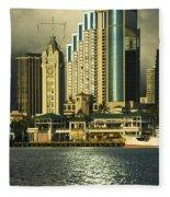 Honolulu Harbor Fleece Blanket