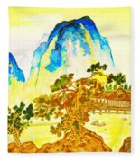 House In Mountains Fleece Blanket