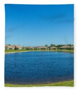 Houses Around Small Lake In North Port Fleece Blanket