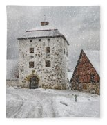 Hovdala Castle Gatehouse In Winter Fleece Blanket