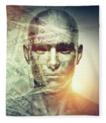 Human Man Face And Dollars Double Exposure. Fleece Blanket