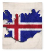 Iceland Map Art With Flag Design Fleece Blanket