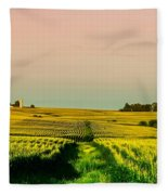 Iowa Cornfield Panorama Fleece Blanket