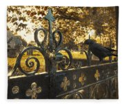 Jackdaw On Church Gates Fleece Blanket