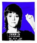 Jane Fonda Mug Shot - Blue Fleece Blanket