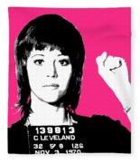 Jane Fonda Mug Shot - Pink Fleece Blanket