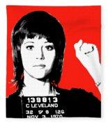 Jane Fonda Mug Shot - Red Fleece Blanket