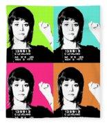 Jane Fonda Mug Shot X4 Fleece Blanket