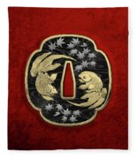 Japanese Katana Tsuba - Twin Gold Fish On Black Steel Over Red Velvet Fleece Blanket