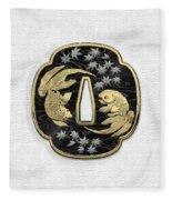Japanese Katana Tsuba - Twin Gold Fish On Black Steel Over White Leather Fleece Blanket