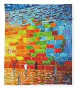 Jerusalem Wailing Wall Original Acrylic Palette Knife Painting Fleece Blanket
