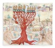 Jerusalem -watercolor On Parchment Fleece Blanket