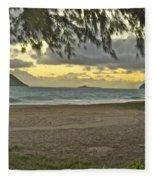Kaohikapu Island Sunrise Fleece Blanket