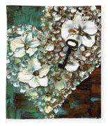Heart Key Modern Valentines Day Art Fleece Blanket