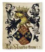 King Of England Coat Of Arms - Livro Do Armeiro-mor Fleece Blanket