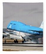 Klm Royal Dutch Airlines Boeing 747 Airplane Landing At San Francisco Airport In San Francisco, Cali Fleece Blanket