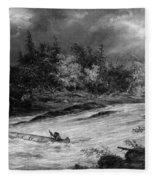 Krieghoff: Canoe On Rapids Fleece Blanket