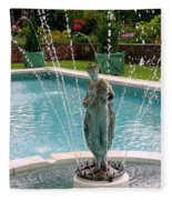 Lady In Fountain Fleece Blanket