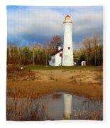 Lake Huron Lighthouse Fleece Blanket