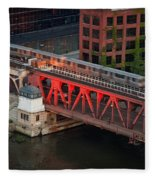 Lake Street Crossing Chicago River Fleece Blanket