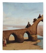 Landscape With Bridge Fleece Blanket