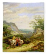 Landscape With Figures And Cattle Fleece Blanket
