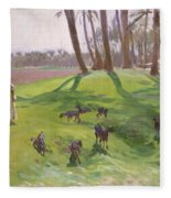 Landscape With Goatherd Fleece Blanket
