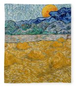 Landscape With Wheat Sheaves And Rising Moon Fleece Blanket