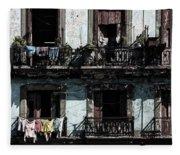 Laundry Day In Havana Fleece Blanket