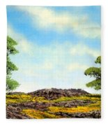 Lava Rock And Flowers Fleece Blanket