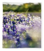 Lavender Purple Flower Blooming On Side Road In Texas At Sunset Fleece Blanket