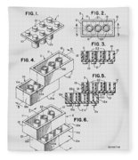 Lego Toy Building Brick Patent  Fleece Blanket