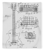 Les Paul  Guitar Patent From 1955 Fleece Blanket
