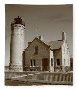 Lighthouse - Mackinac Point Michigan Fleece Blanket