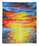 Lighthouse Sunset Ocean View Palette Knife Original Painting Fleece Blanket