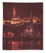 Lights Of Budapest Fleece Blanket