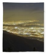 Lights Of Los Angeles, California Fleece Blanket