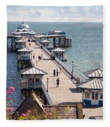 Llandudno Pier North Wales Uk Fleece Blanket