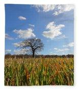 Lone Oak Tree In Wheat Field Fleece Blanket